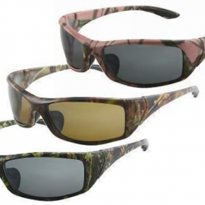 Power Wrap Three Shades Of Camouflage Prints On Frames (shown). Available In Polarized Lens And Regular Smoke PC Lens.